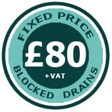 PlumbJet offer a Fixed Price of £80.00 for blocked drains